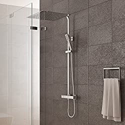 Shower system incl. Thermostatic shower head 40x40cm Hand shower Shower tap Shower