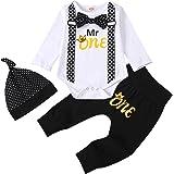 Afocuz Conjunto de 2 piezas de ropa para recién nacidos para niños y niñas con estampado de letras y camisetas