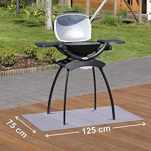 Kleinmöbel & Accessoires Bodenschutzmatten Grillunterlage Bodenschutzmatte Grillschutzmatte Mit Riffelblechoptik Schwarz