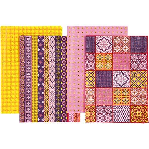 Decoupage-Papier, Blatt 25x35 cm, 17 cm, Harmonie in Pink, 8sort. Blatt - Harmonie Blättern