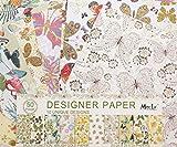 50 Fogli 10 Fiori Unici Natura Design Scrapbooking Carta Decoupage Designer Pennello d'Oro di Carta Pack 23 cm x 24.5 cm