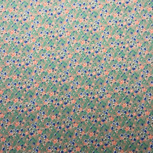 Ditsy Floral Print 1509/492Khaki 100% Baumwolle Linon Sommer Kleid Stoff 147,3cm breit, Meterware, -