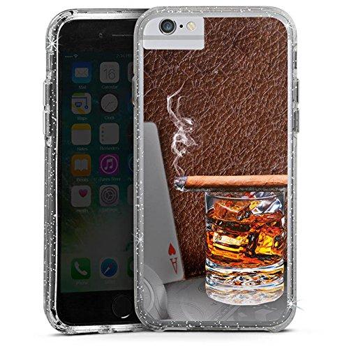 Apple iPhone 8 Bumper Hülle Bumper Case Glitzer Hülle Zigarre Whiskey Karten Bumper Case Glitzer silber