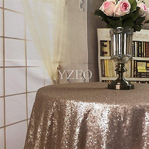 yzeo 396,2cm rund Funkelnd Hochzeit Champgne Pailletten Tischdecke für Hochzeit Party Bankett 8ft Tisch -