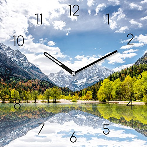 Eurographics National Park in The Alps Wanduhr, Glas, Bunt, 55 x 55 x 3.5 cm
