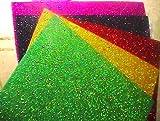 KIT 5 FOGLIA GOMMA CREPLA CON BRILLANTINA - Gomma Eva Fogli Brillantinati di 2mm - dimensioni circa 20x30cm Fogli gomma crepla - moosgummi - foamies