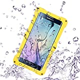 Samsung Galaxy S6/S6 Edge Wasserfeste Hülle, IP68 Zertifiziert 360 Grad Ganzkörperabdeckung mit Anti-Kratzer eingebautem Displayschutz Stoßfest Schutzhülle Handytasche für Samsung Galaxy S6/S6 Edge (Gelb)