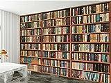 Wapel Home Decor Tapete Fototapete Bücherregal Bücherregal 3D-Bild Wohnzimmer Tv-Kulisse Studie Seidenstoff 200x140CM