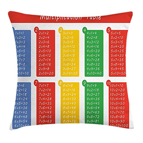 llow Cushion Cover, Colorful Classroom Multiplication Table Between One to Ten Elementary School, Decorative Square Accent Pillow Case, 18 X 18 Inches, Multicolor ()