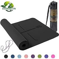 N// A Tapis de Yoga TPE Tapis de Sol antid/érapant Bicolore avec Ligne de positionnement 1830x610x6mm