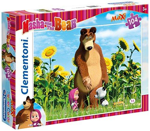 Clementoni 23682 - masha e orso maxi puzzle, 104 pezzi