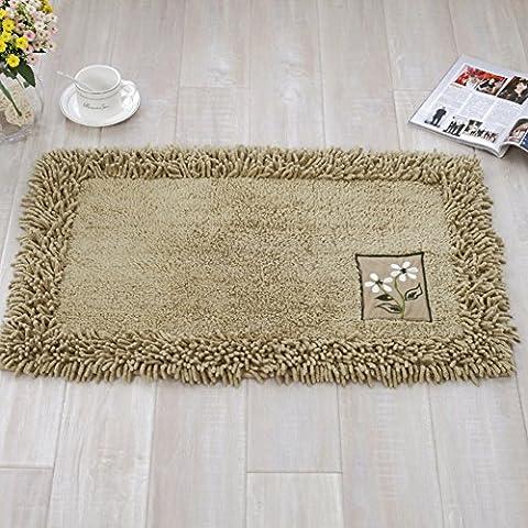 Chenille Footmats Khaki - MeMoreCool Pure Cotton Healthy Home Textiles