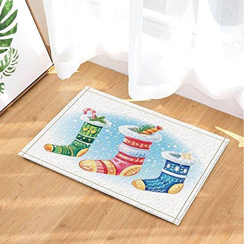 gohebe New Year Decor Cartoon Candy Cane in Weihnachten Socken für Kinder Bad Teppiche rutschhemmend Fußmatte Boden Eingänge Innen vorne Fußmatte Kinder Badematte 39,9x59,9cm Badezimmer Zubehör