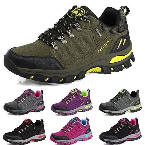 BOLOG Outdoor Wanderschuhe Sport Low Rise Anti-Rutsch Kletterschuhe leicht atmungsaktiv Trekking Herren Damen Schuhe, Grün - Armee-grün - Größe: 39