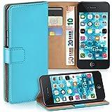 moex iPhone 4S | Hülle Türkis mit Karten-Fach 360° Book Klapp-Hülle Handytasche Kunst-Leder Handyhülle für iPhone 4/4S Case Flip Cover Schutzhülle Tasche