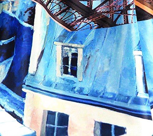 Rock Reichlich Mi Lang Satin 34/44 Bedruckt Schick EIFFEL Blau