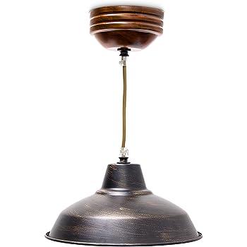 Relaxdays luminaire suspension lampe de plafond plafonnier de style industriel abat jour métal effet lation