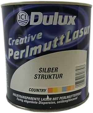 Effekt Wandfarbe Wandlasur 1 liter DULUX Perlmutt silber
