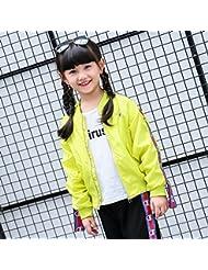 Las niñas ZYTAN trajes, en primavera y otoño, desgaste, dos conjuntos de abrigos y pantalones,Amarillo,160cm.