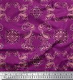 Soimoi Rosa Baumwolljersey Stoff Geometrisch & Paisley Damast Drucken Nahen Stoff 1 Meter 58 Zoll breit