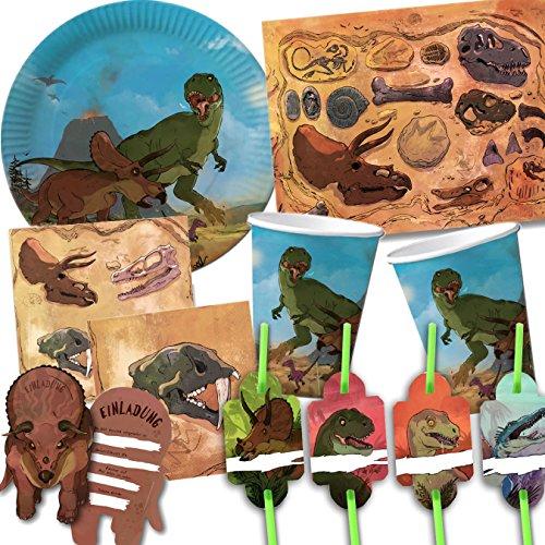 101-teiliges * DINOSAURIER * PARTY SET für Kindergeburtstag oder Mottoparty mit 8 Kinder: Teller, Becher, Servietten, Einladungen, Trinkhalme, Platzsets, Luftballons, Luftschlangen, u.v.m. von DH-Konzept // Motto Deko Partygeschirr Kinderfest T-Rex Triceratops Kreide Jura