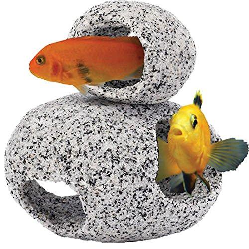 aquarium-ornament-natural-granite-stone-fish-hideaway-1-x-small-1-x-medium