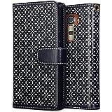 LG G4 Case, Terrapin Ätzen Blumen Handy Leder Brieftasche Case Hülle mit Kartenfächer für LG G4 Hülle Schwarz