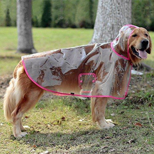 Glanzzeit Durchsichtiger Regenmantel Haustier Wasserdichte Regenjacke Verstellbares Regencape für Mittlere Große Hunde 2XL bis 6XL (2XL, Rosa)