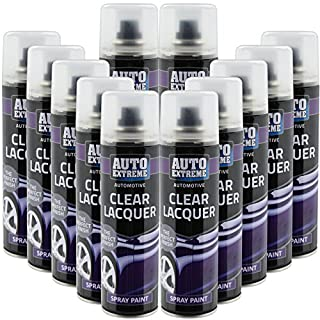 All Purpose Automotive Spray Paint 250ml Can Clear Lacquer Finish Aerosol Metal Interior Exterior Fast Dry Excellent Coverage Adhesion - Clear Lacquer - 12 Pack