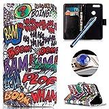 Etsue für Huawei Honor 8 Cartoon Ledertasche Lederhülle Flip Cover Case Muster, Bunte Retro Vintage Painted PU Leder Brieftasche Schutzhülle Tasche Wallet Case Handyhüllen Etui Schale im Bookstyle mit Standfunktion Kredit Kartenfächer für Huawei Honor 8 + 1x Glitzer Staub Stecker + 1x Blau Eingabestift(Graffiti)