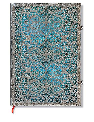Silberfiligran Kollektion Maya Blau - Notizbuch Grande Unliniert - Paperblanks (Antike Französische Grand)