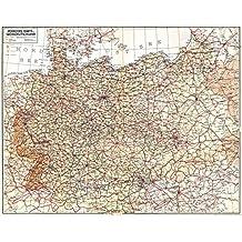 Historische Übersichtskarte: VERKEHRSKARTE VON GROSSDEUTSCHLAND - Frühjahr 1940: Mit den Grenzen des Hitler-Stalin-Paktes, den Reichsautobahnen, Westerwall und Maginot-Linie