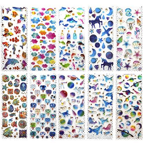 SAVITA 400+ Epoxy Aufkleber für Kinder Mädchen 3D Geschwollen Stickers für Bullet Journal Scrapbook Planer Muschel / Herz / Blumen / Süßigkeiten / Wolken / Taube / Driftflaschen / Unicorn Castle / Wal -