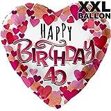 galleryy.net Happy Birthday Herzen 40 XXL Ø 71cm | Folien Ballon Zum 40. Geburtstag