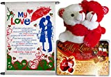 hug day gifts for boyfriend - Greeting Card, Love Quotes, Soft Teddy title=