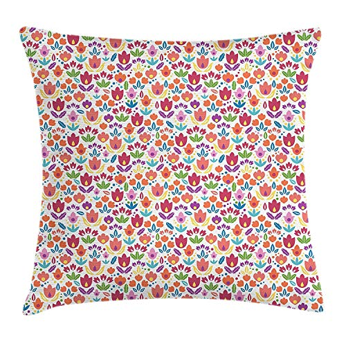 Zierkissenbezüge, Throw Pillow Covers, Dutch Blooming Tulips Rural Country Abstract Floral Illustration Ornamental Petals Foliage, Decorative Square Accent Pillow Case, 18 X 18 inches, Multicolor -