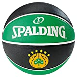 Spalding El Team Panathinaikos Ball Basketball Mixte Adulte, Noir/Vert, 7