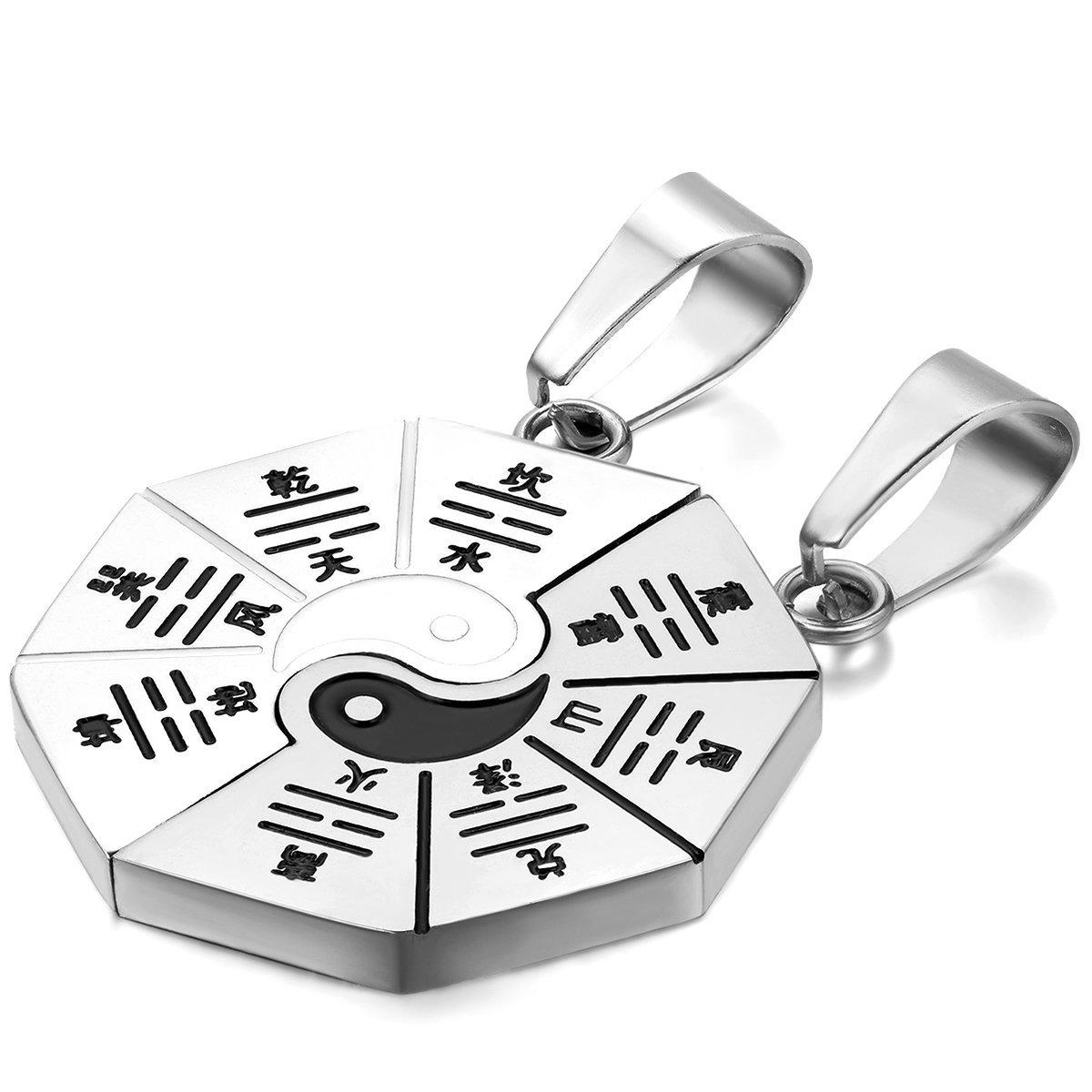 JewelryWe Schmuck 2 Freundschaftsketten, Edelstahl Klassiker Tai Chi Yin und Yang Partner-Anhänger mit 50cm und 55cm Kette, Halskette für Herren Damen, Silber