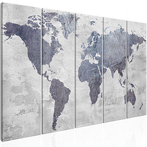 murando Cuadro en Lienzo Mapa del mundo 200x80 cm - Impresion en calidad fotografica - Cuadro en lienzo tejido-no tejido - Gris Concreto k-C-0087-b-m