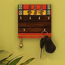 ExclusiveLane Tribal Borders Warli Hand-Painted Sheesham Wood Key Holder, Brown