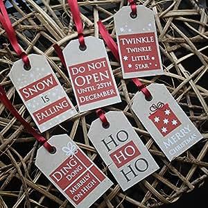 """De ne pas ouvrir """"cadeau de Noël Balises Festive Kraft Mots Noël énonciations x 6 rustiques"""