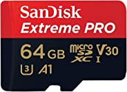SanDisk Extreme Pro microSDXC Memory Card Plus SD Adapter up to 100 MB/s, Class 10, U3, V30, A1-64 GB