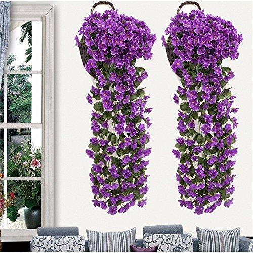 1pcs chlorophytum artificiale 85cm muro in fiore finto matrimonio di decorazioni natalizie all'interno e all'esterno del giardino decorazione viola,violet pianta verde artificiale stile rustico