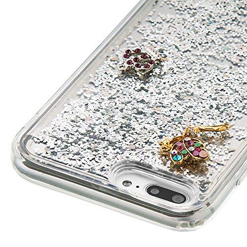 """Flüssiges Case Ultra Thin Dünn TPU Silikon Schutzhülle für iPhone 7 plus 5.5"""" 3D Kreative Liquid Handyhülle Durchsichtig Rückseite Tasche Glitter Shiny Kristall Klar Handytasche Sparkle Dynamisch Trei E04"""
