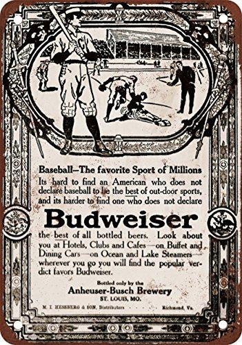 1910Budweiser Beer & baseball vintage look Reproduction metal Tin Sign 20,3x 30,5cm