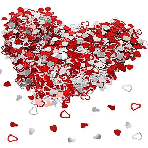 Howaf plastica coriandoli cuore rossi cuoricini decorazione tavolo per matrimonio compleanno battesimo addio al nubilato san valentino decorazione, 15 mm, 2,4 oncia