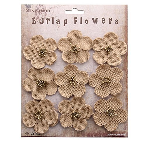 RiscaWin (9 Pcs) Crafts Chic Handmade Burlap Cherry Blossom Sakura Flowers by RiscaWin
