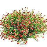 Houda Kunstpflanzen, z.B. Eukalyptus aus Kunststoff, künstliche Sträucher als Dekoration für drinnen und draußen, Haus, Garten, Büro, Veranda, Hochzeiten usw., 4Stück rosarot
