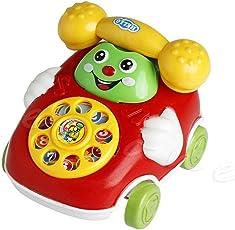 Scallop 2 in 1 Baby Kleinkind Spielzeug Autospielzeug Karikatur-Autotelefon-Spielzeug mit Zuglinie