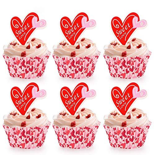 Howaf 100 X Cupcake Wrapper Muffins Papierformchen Und Herz